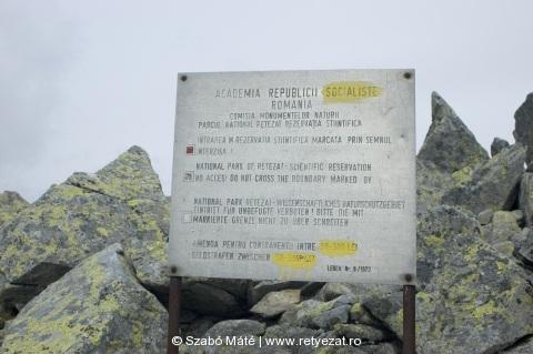 A Gemenele Rezervátum határára figyelmeztető tábla